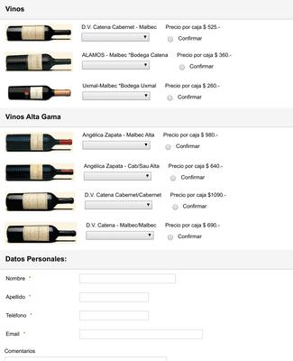 Formulario de Compra de Vinos