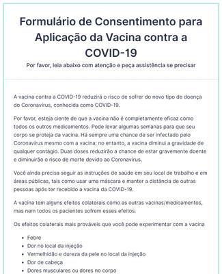 Formulário de Consentimento para Aplicação da Vacina contra a COVID-19