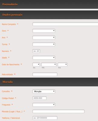 Formulário de Informação do Estudante
