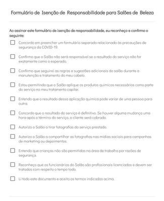 Formulário de Isenção de Responsabilidade para Salões de Beleza
