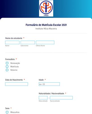 Formulário de Matrícula Escolar 2021