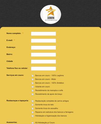Formulário de pedidos e encomendas