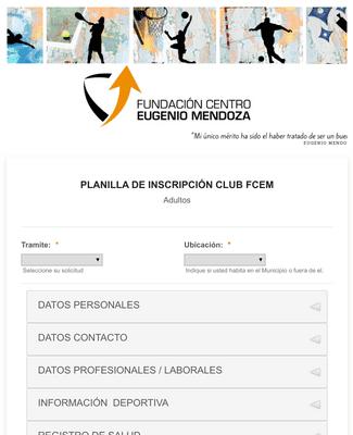 Formulario de Planilla de Inscripción a Club Deportivo
