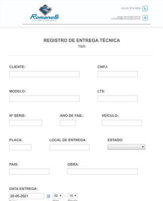 Formulário de Registro de Entrega Técnica