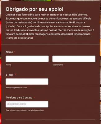 Formulário para Pedidos Recorrentes do Restaurante durante a COVID-19