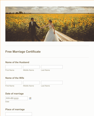 Free Marriage Certificate Form