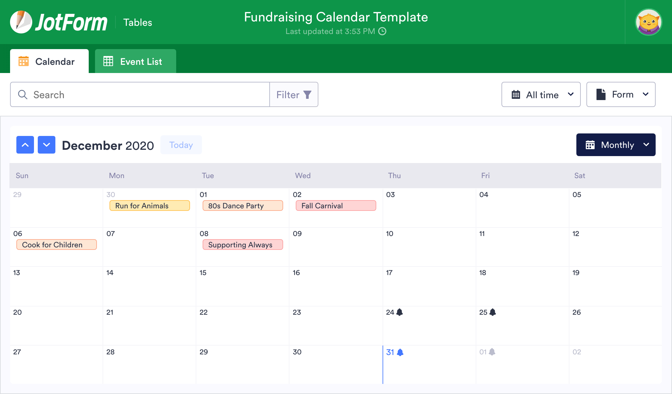 Fundraising Calendar Template