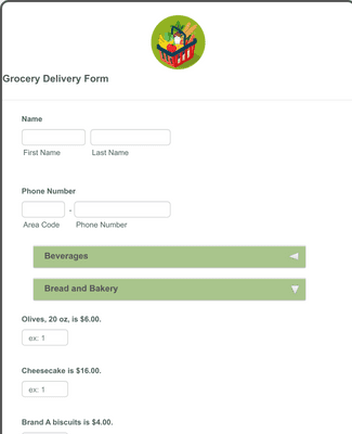 Grocery Delivery Form