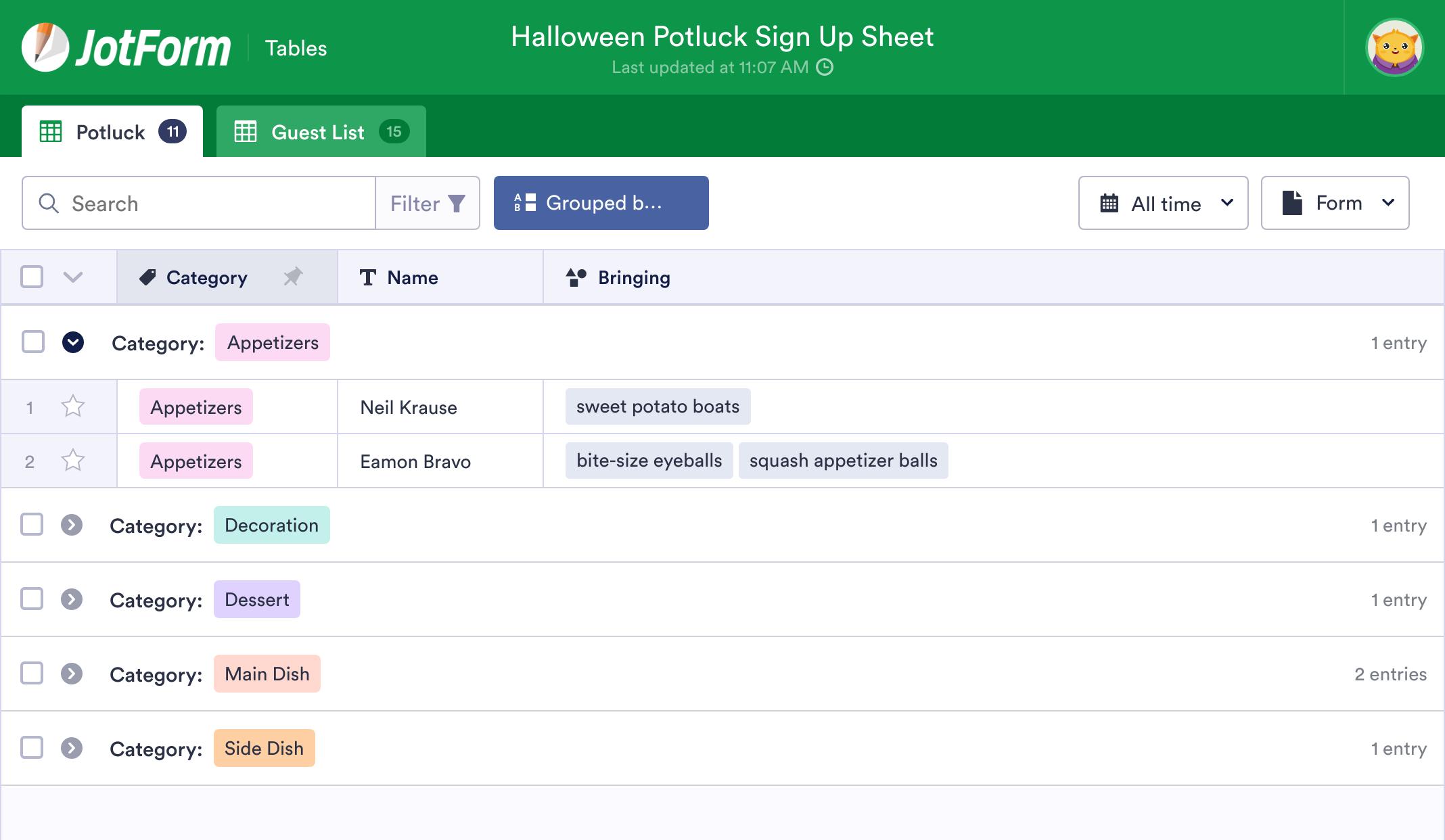 Halloween Potluck Sign Up Sheet