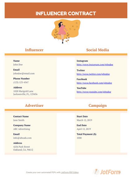 Influencer Contract Template