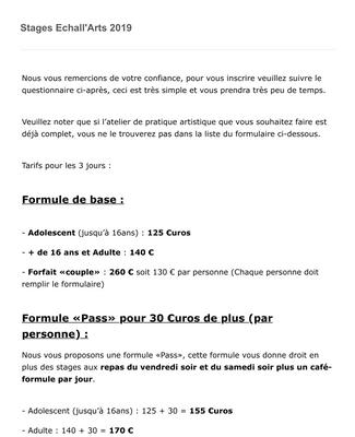 Inscription Atelier en français