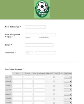 Inscription tournoi de Football en français