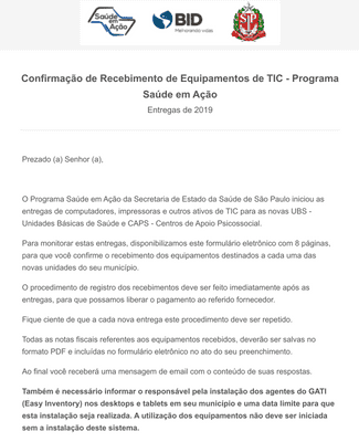 IT Equipment Receipt Confirmation Form in Portuguese