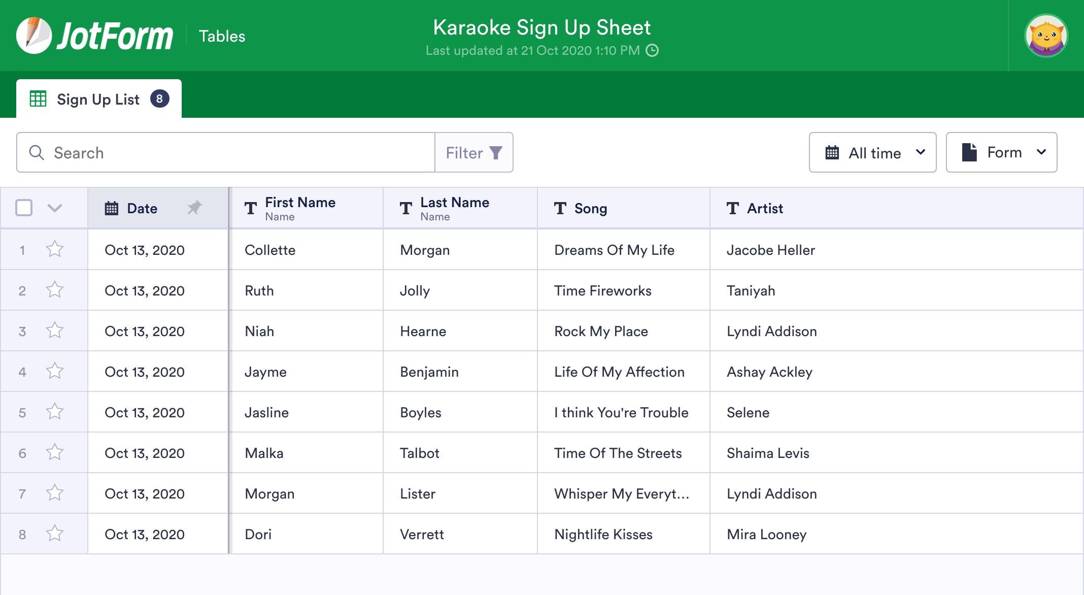 Karaoke Sign Up Sheet
