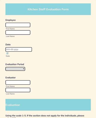 Kitchen Staff Evaluation Form