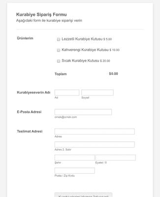 Kurabiye Sipariş Formu