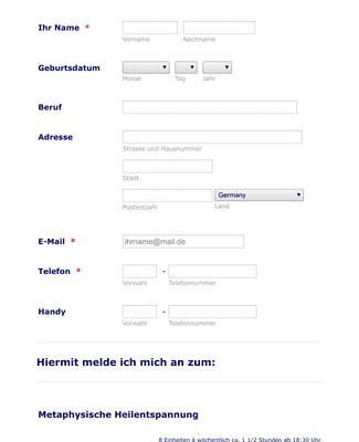 Kursanmeldungsformular - Deutsch