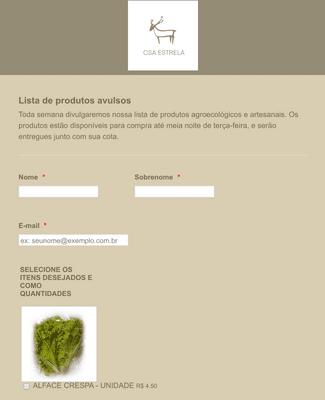 Lista de produtos orgânicos
