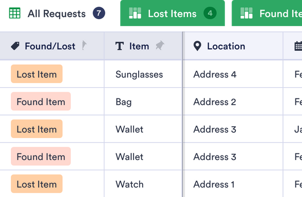 Lost And Found Log Template Jotform Tables