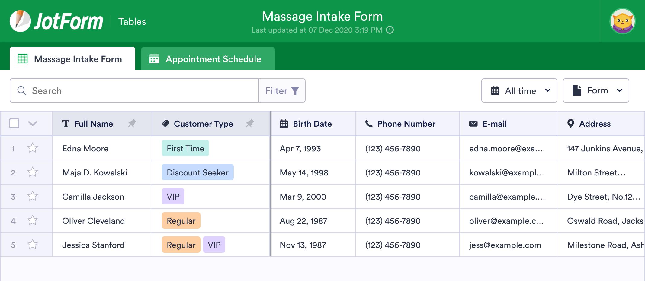 Massage CRM