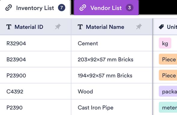 Material List Template Jotform Tables