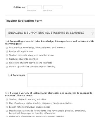 Teachers Evaluation Form