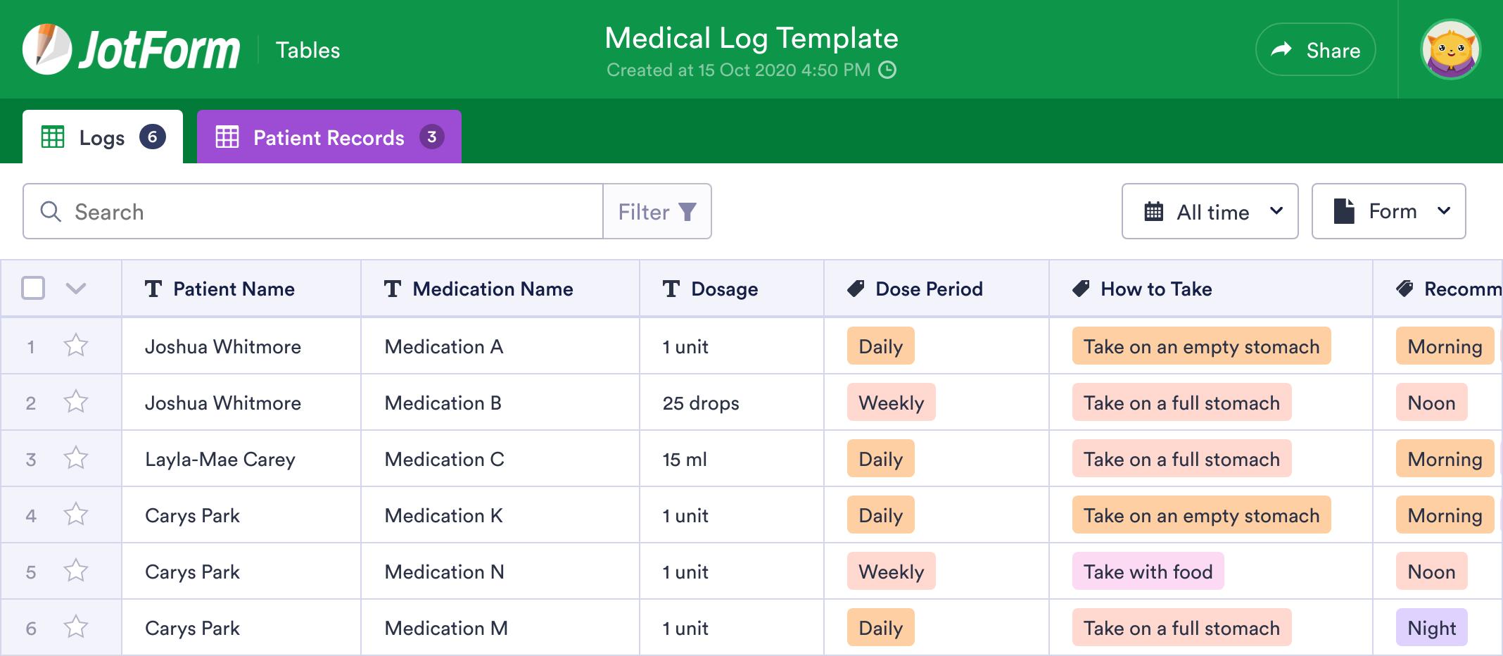 Medical Log Template