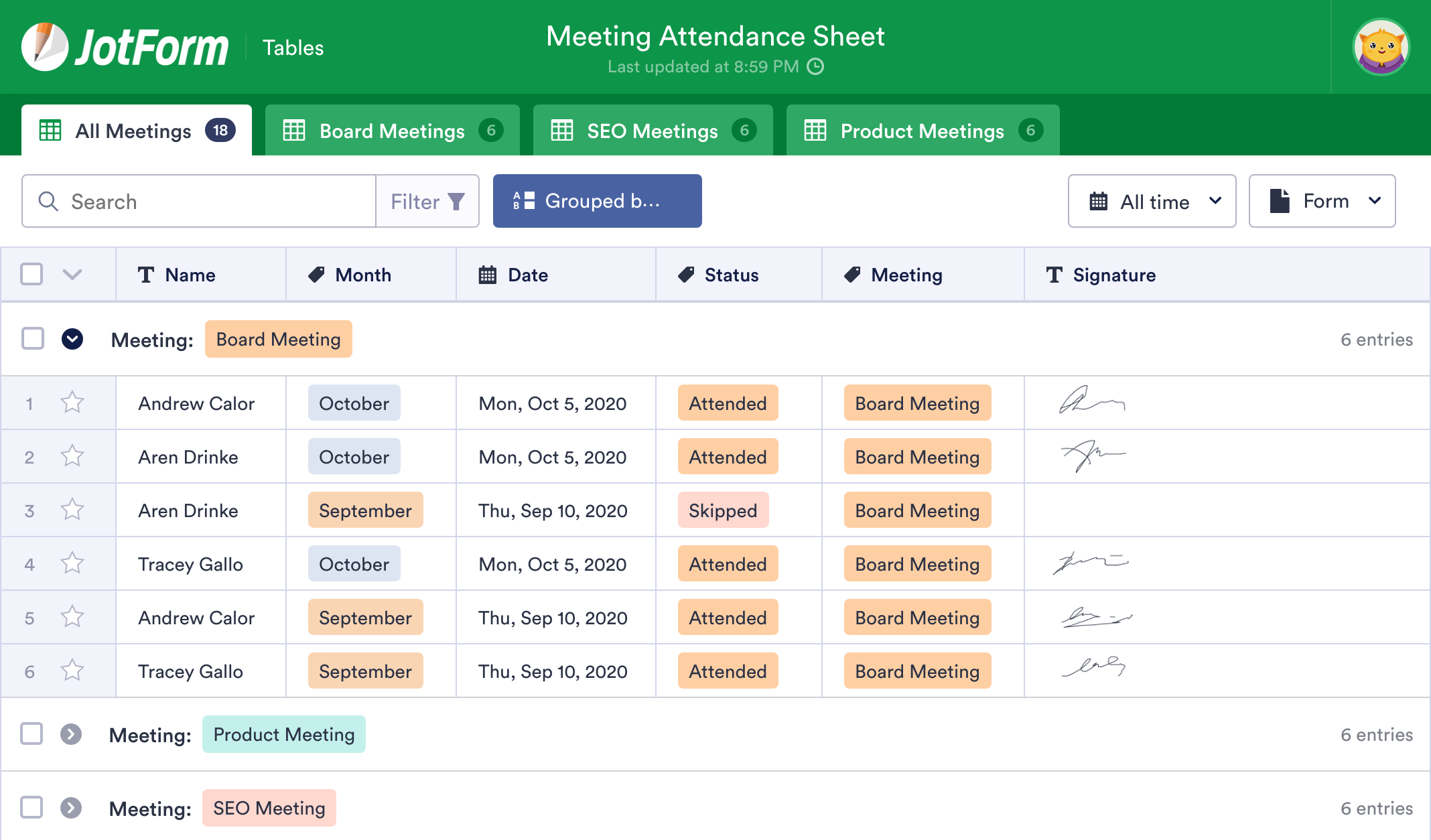 Meeting Attendance Sheet