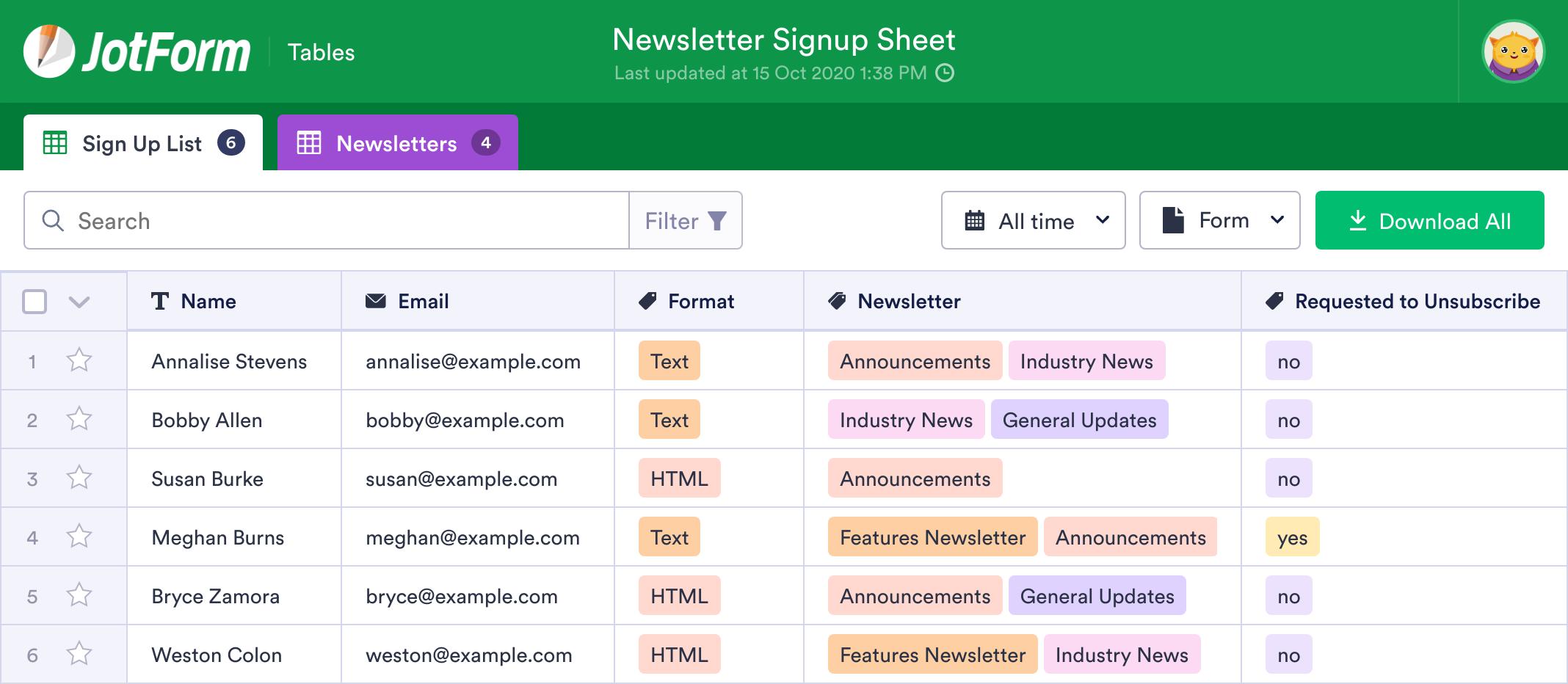Newsletter Signup Sheet