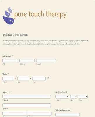 Nöromusküler Masaj Terapisi Müşteri Kayıt Formu