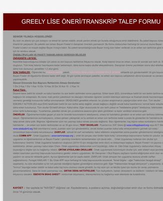 Okul Transkript ve Öneri Mektubu İstek Formu