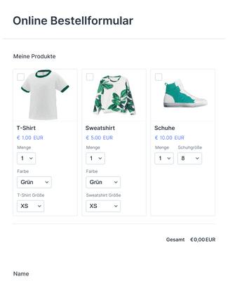 Online Bestellformular