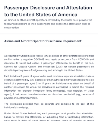 Passenger Disclosure and Attestation to the United States of America