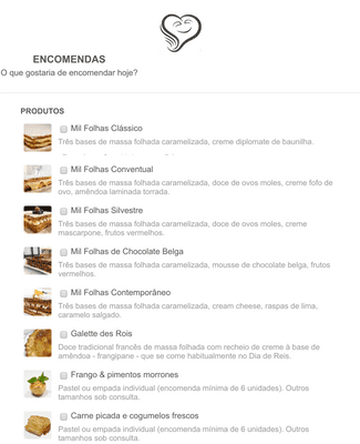 Pastry Order Form in Portuguese