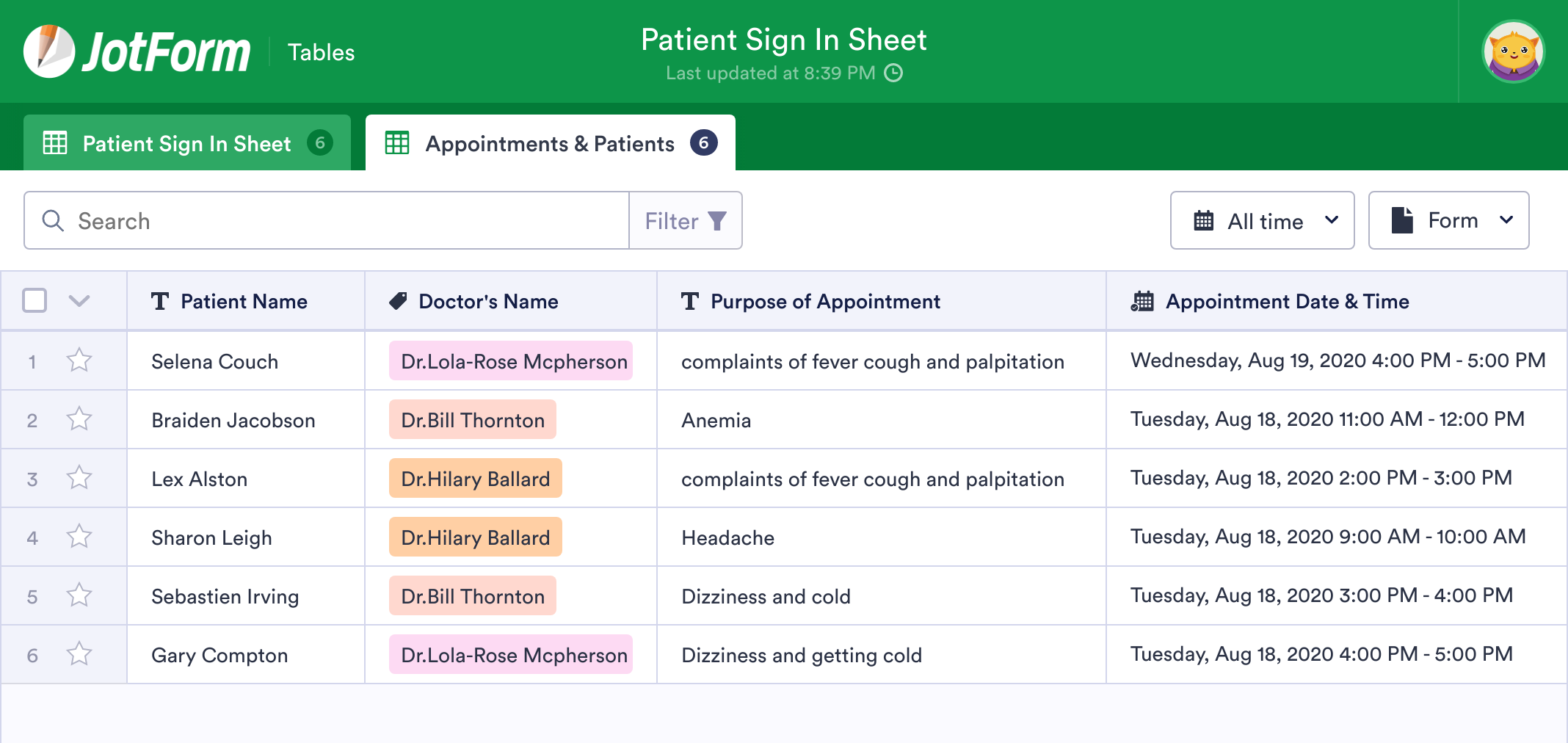 Patient Sign In Sheet