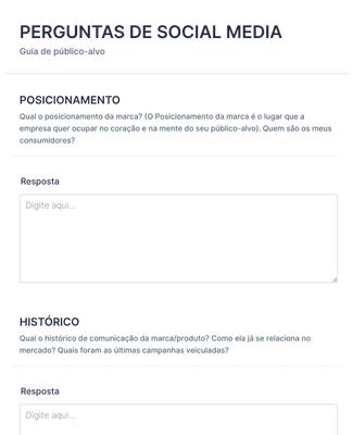PERGUNTAS DE SOCIAL MEDIA