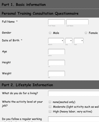 Template client personal trainer information Personal Trainer