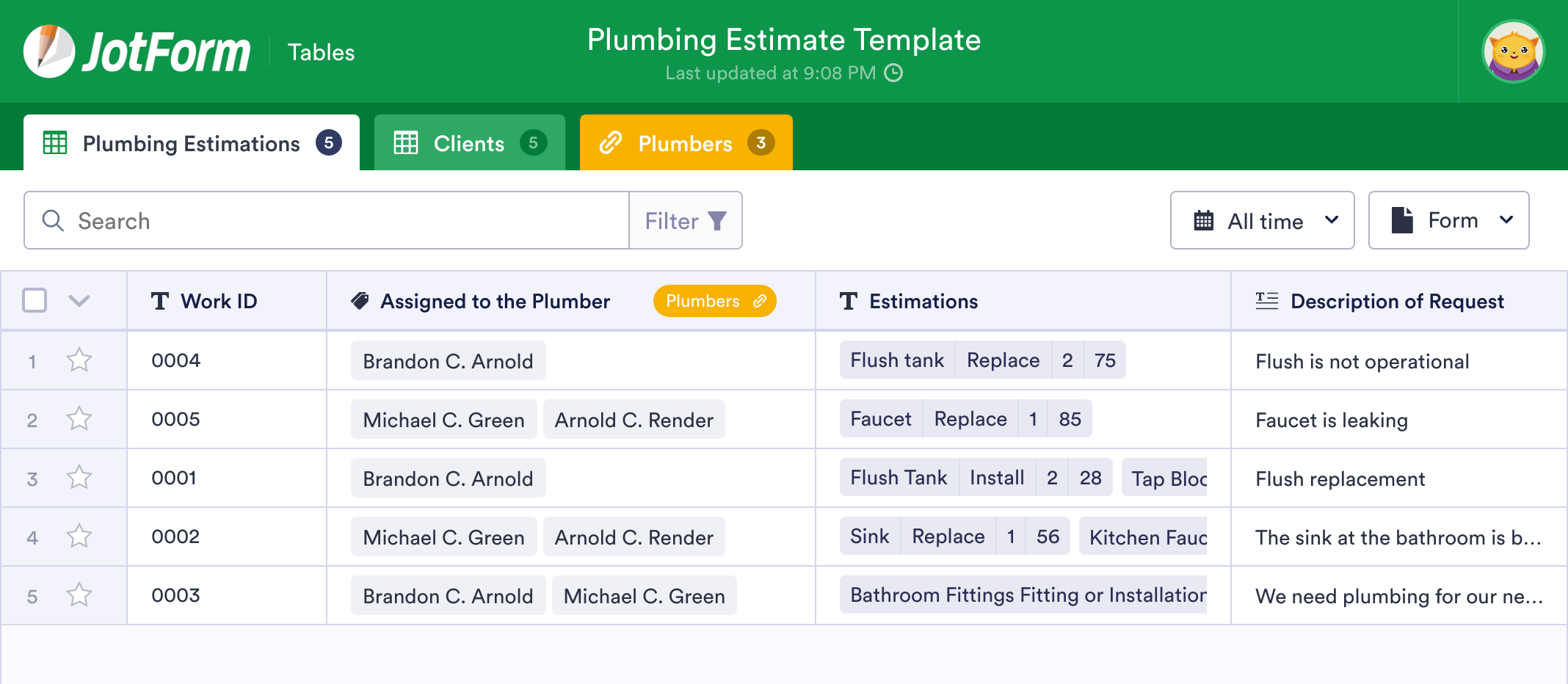 Plumbing Estimate Template