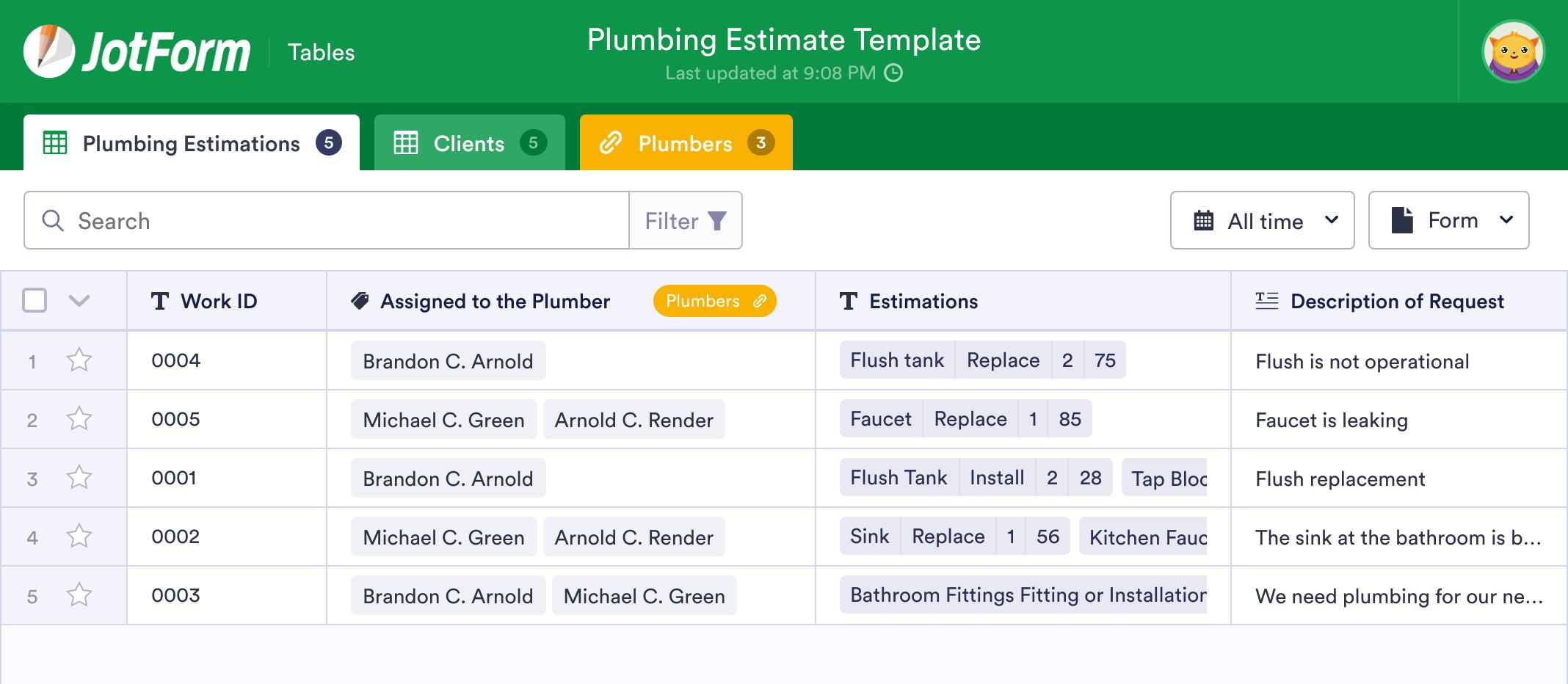 Plumbing Estimate Template
