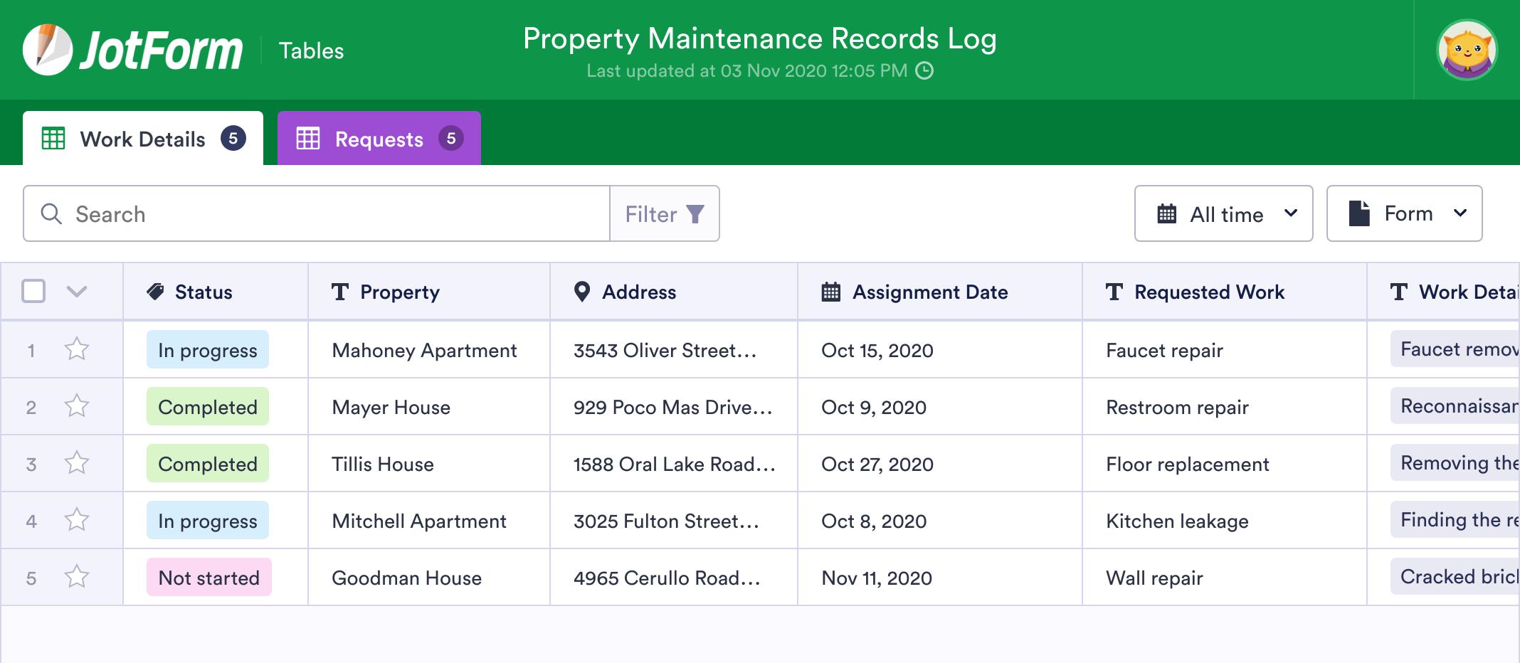 Property Maintenance Records Log