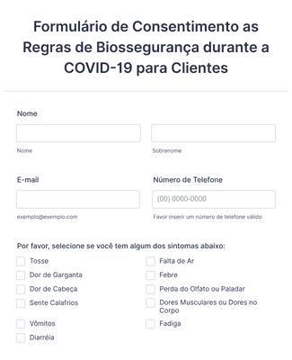 Formulário de Consentimento as Regras de Biossegurança durante a COVID-19 para Clientes
