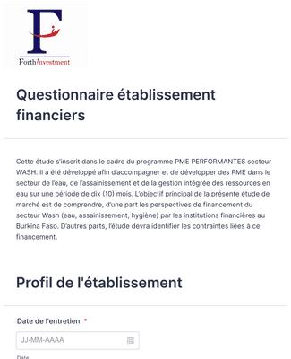Questionnaire établissement financiers