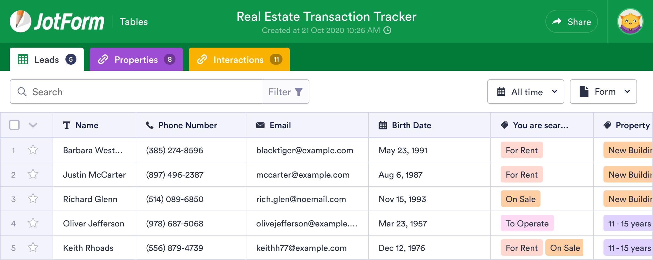 Real Estate Transaction Tracker
