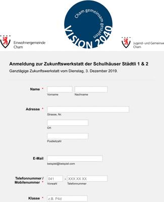 Registrierungsformular für Workshop