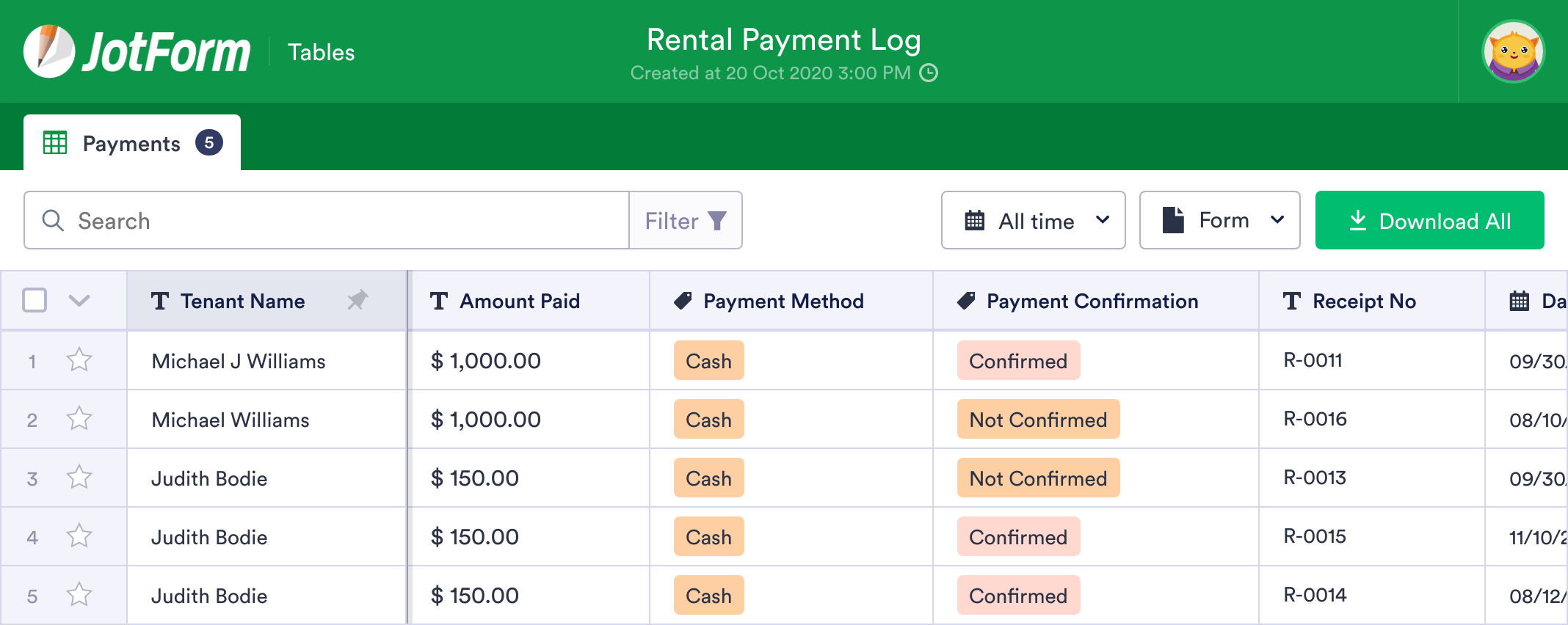 Rental Payment Log Template
