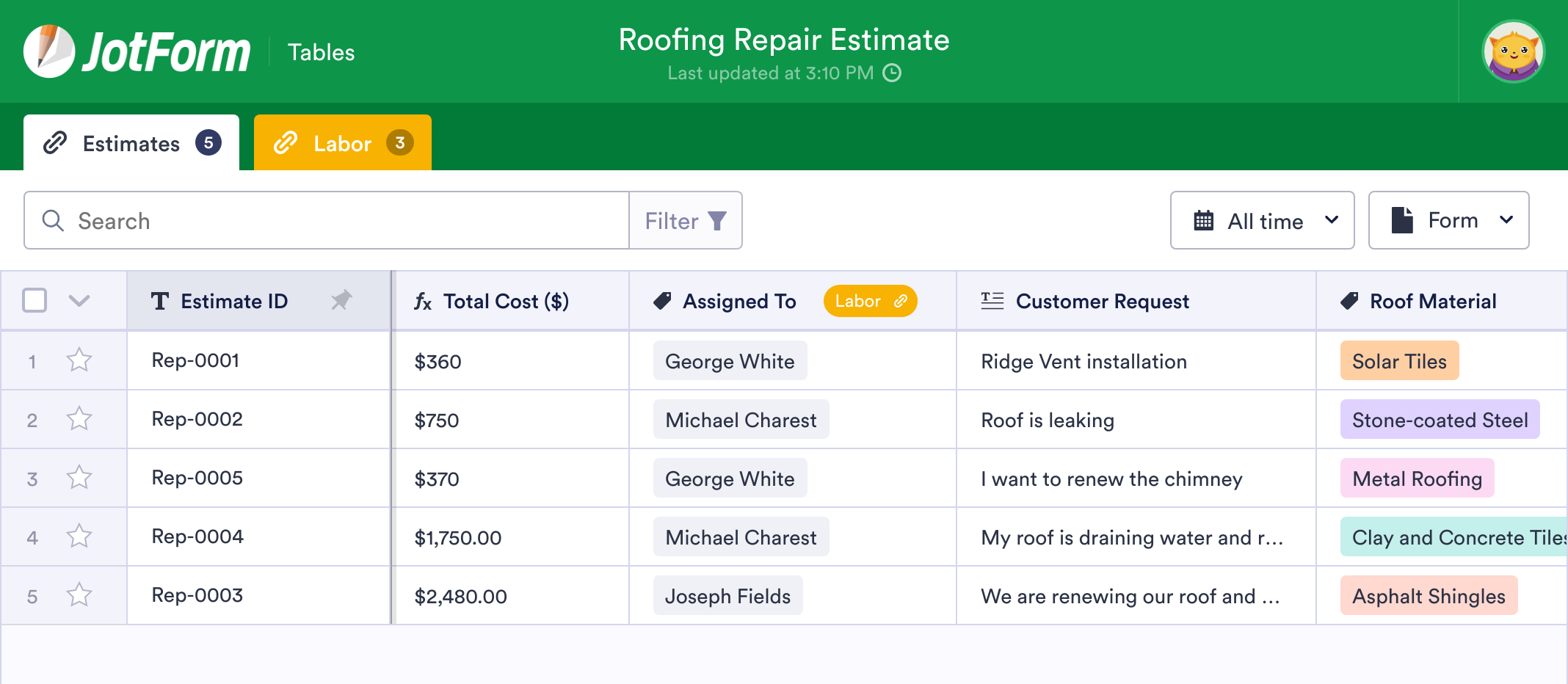 Roofing Estimate Template