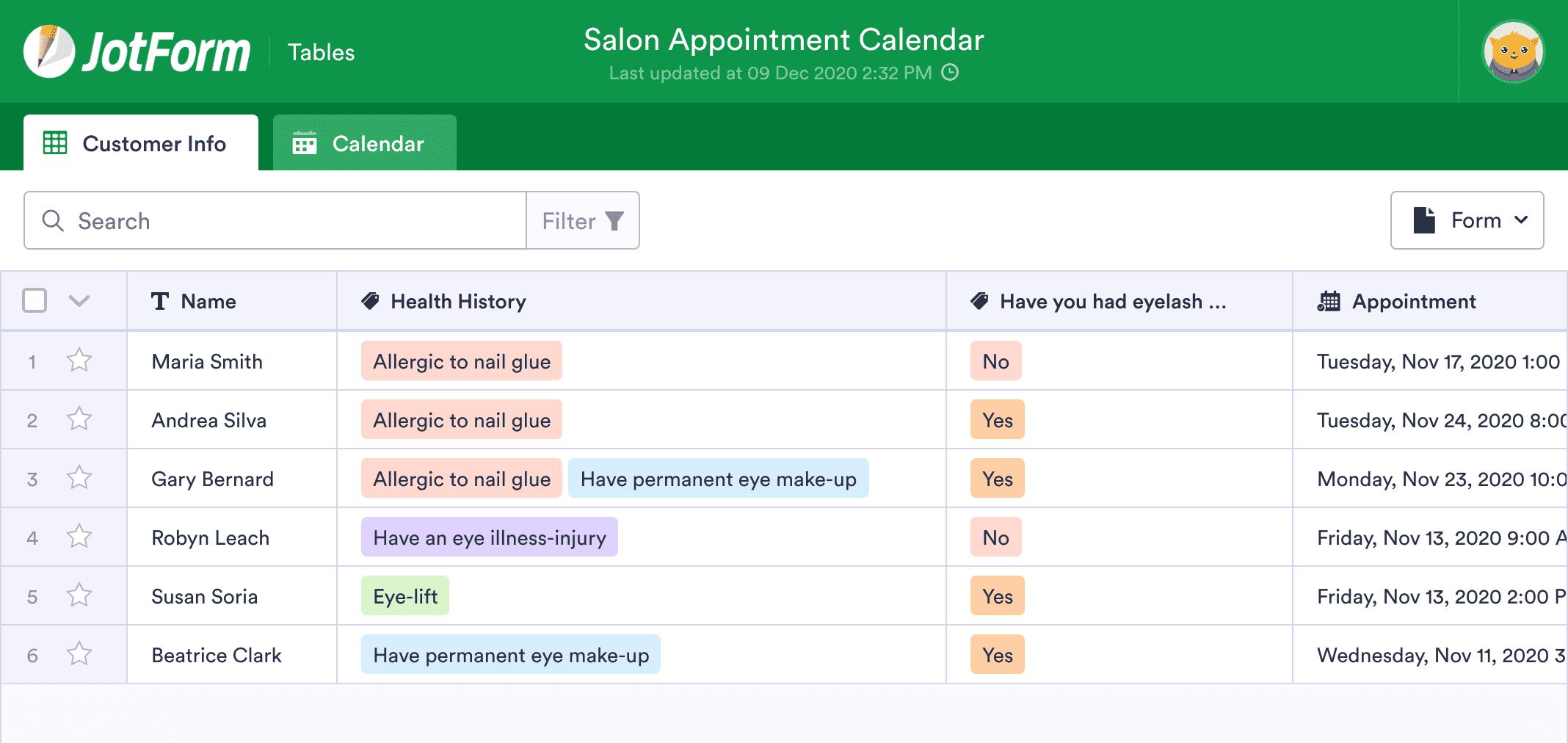 Salon Appointment Calendar
