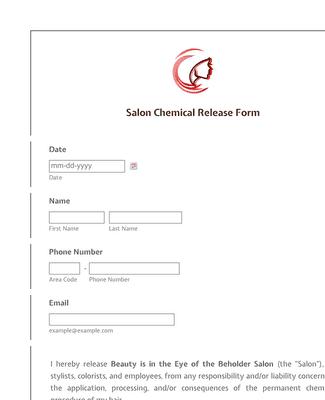 Salon Chemical Release Form Template Jotform