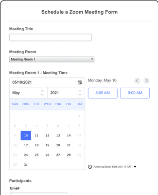 Schedule a Zoom Meeting Form