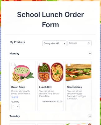 School Lunch Order Form Template Jotform